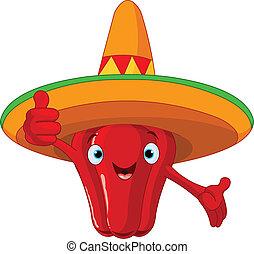 Roter Chili Pfeffer Charakter.