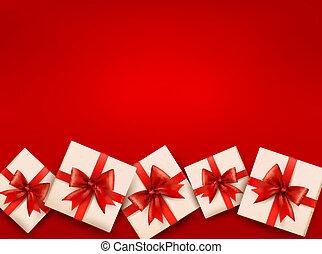 Roter Feiertagshintergrund mit Geschenken und rotem Bogen. Vektor Illustration