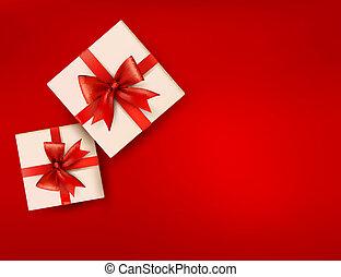 Roter Feiertagshintergrund mit Geschenkschachteln mit rotem Bogen. Vektor Illustration