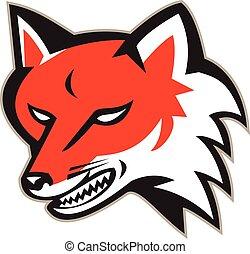Roter Fuchs, wütender Kopf Retro.