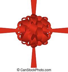 Roter Geschenkbogen von Band isoliert auf weißem Hintergrund.