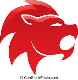 Roter, glänzender Löwe.