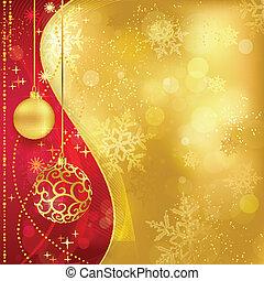 Roter, goldener Weihnachts Hintergrund mit Schmuck