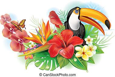 Roter Hibiskus, toucan und tropische Blumen.