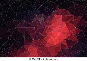 Roter Hintergrund geometrischer Formen. Retro-Dreieck. Farbiges Mosaikmuster.