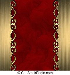 Roter Hintergrund mit schönen Goldschmuck am Rand.