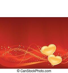 Roter Hintergrund mit wavy Muster, Punkte, Sterne und zwei goldenen Herzen im unteren Drittel. Toll für deine romantischen Entwürfe oder für den Valentinstag.