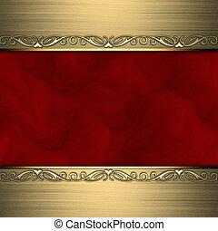 Roter Hintergrund mit wunderschönen Goldschmuck an den Rändern