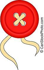 Roter Kleiderknopf und Faden. Vector Illustration: 10