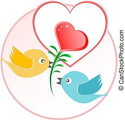 Roter Liebesvogel mit Herzballons über beige Vektoren