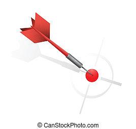 Roter Pfeil trifft das Ziel. Illustrationsdesign