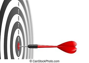 Roter Pfeil trifft in der Zielmitte von Dartboard. Metaphor zum Zielerfolg, Gewinnerkonzept. Auf weißem Hintergrund.
