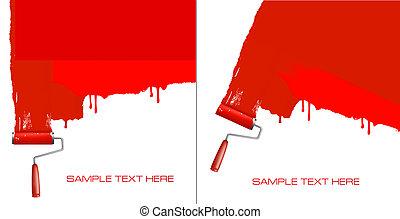 Roter Roller malt die weiße Wand.