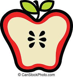 Roter, saftiger Apfel, halbiert.
