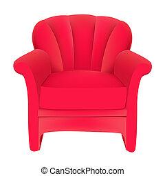 Roter samtiger, einfacher Stuhl im weißen Hintergrund