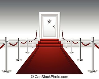 Roter Teppich, der zur Tür führt.