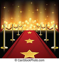 Roter Teppich mit Sternen