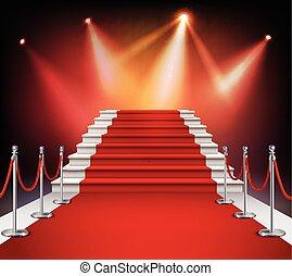 Roter Teppich mit Treppen.