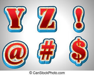 Rotes 3D- Alphabet mit großer Schriftart