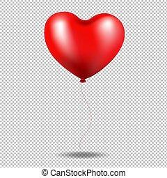 Rotes Ballonherz in transparentem Hintergrund.