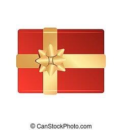 rotes band, schleife, weihnachten, fröhlich, glücklich, goldenes, geschenk