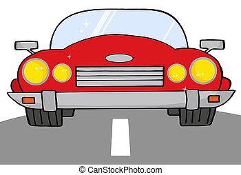 Rotes Cabrio auf einer Straße