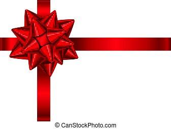 Rotes, dekoratives Geschenkband und Bogen isoliert auf weißem Hintergrund.