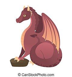 rotes , feuerspeiend, dragon., feuerdrachen, fliegendes, karikatur