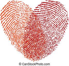 Rotes Fingerabdruckherz, Vektor