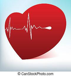 Rotes Glasherz mit normalem Kardiogramm. EPS 8
