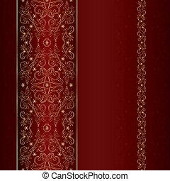 Rotes goldfarbenes, samtloses Muster