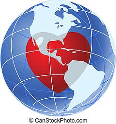 Rotes Herz des blauen Erdenplaneten