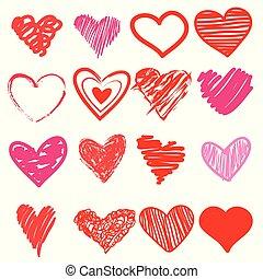 Rotes Herz. Icon süß, Cartoon Doodle Liebe