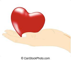 Rotes Herz in der Hand.