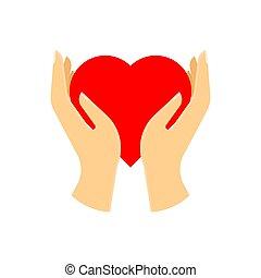 Rotes Herz in der Hand