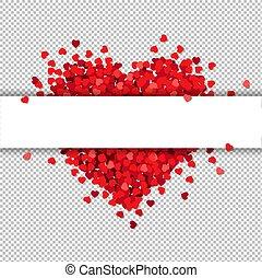 Rotes Herz isoliert mit Banner transparenten Hintergrund.