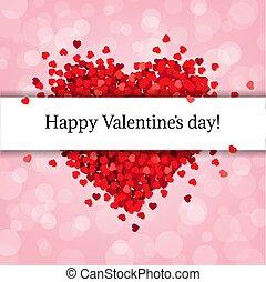 Rotes Herz isoliert mit rosa Hintergrund.