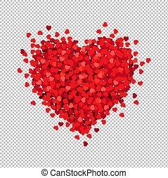 Rotes Herz isoliert transparenter Hintergrund.