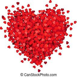 Rotes Herz isoliert weißer Hintergrund.