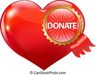 Rotes Herz mit Labelspende