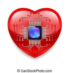 Rotes Herz mit Mikrochip