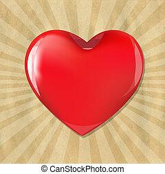 Rotes Herz mit Pappe mit Sonnenbrand