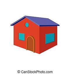 Rotes kleines Cottage Cartoon Icon.