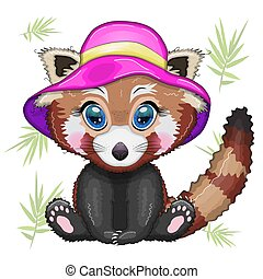 rotes , rosa, urlaub, begriff, hut, panda, sommer, m�dchen