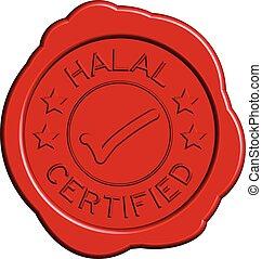 Rotes rundes Wachssiegel der Formulierung halbiert mit Mark Icon auf weißem Hintergrund.