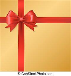 Rotes Seidenband mit goldenem Hintergrund. Weihnachtsgeschenk für dekoratives Design Element. Vector