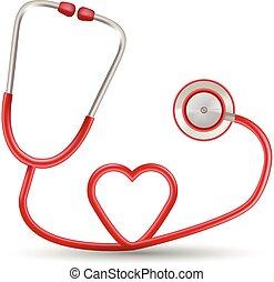 Rotes Stethoskop in Herzform, isoliert auf weißem Hintergrund. Realistische Vektorgrafik.