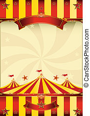 Rotes und gelbes Top-Zirkus-Poster.