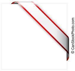 Rotes und weißes Eckband.