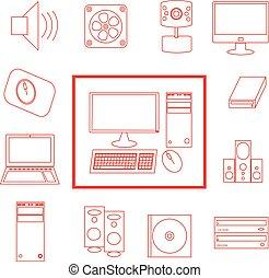 Rotes und weißes Vektor-Computer-Icon gesetzt.
